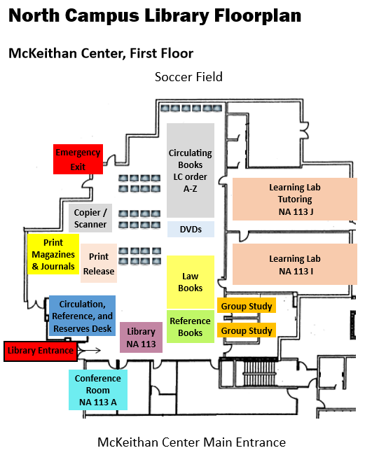 North Campus Library Floorplan and Map