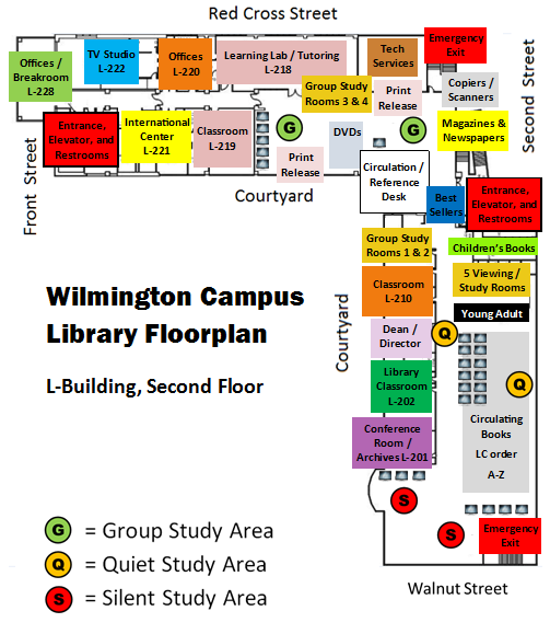 Wilmington Campus Library Floorplan and Map