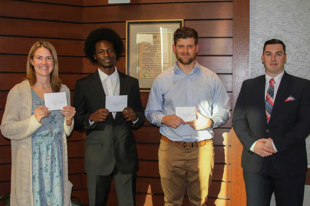 Tara Fries, Marine Technology; Donte Moss, Associate in Science; Jeremy Madden, Nursing; Lucas Sloan, Associate in Arts