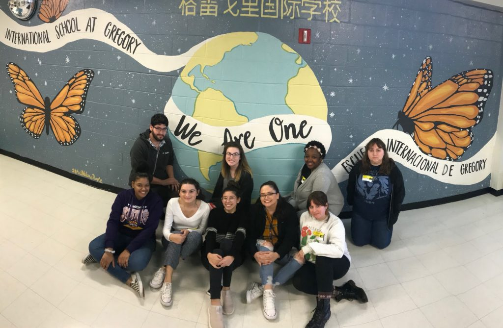 CFCC Painting I Students in Front of New Mural